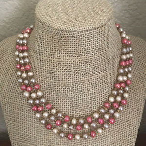Jewelry - Pink Glass Pearl Choker Necklace 12""